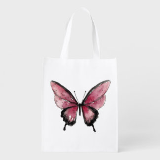 Big Red Butterfly Reusable Grocery Bag