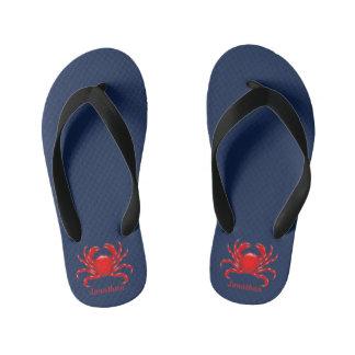 Big Red Crab Back to School Dorm Essentials Kids Kid's Flip Flops