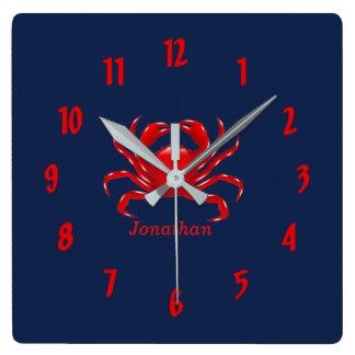 Big Red Crab Back to School Dorm Essentials Square Wall Clock