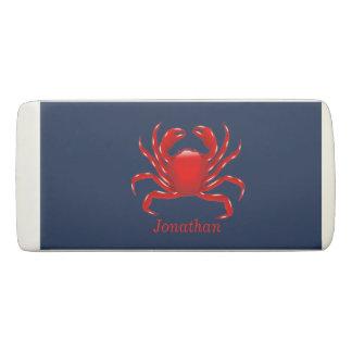 Big Red Crab on Blue Background Back to School Eraser