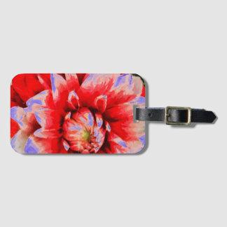 Big red flower luggage tag