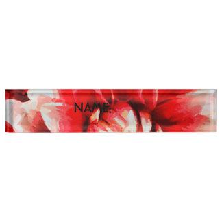 Big red flower nameplate