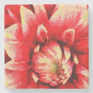 Big red flower stone coaster