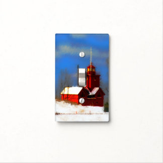 Big Red Lighthouse Painting - Original Art Light Switch Cover