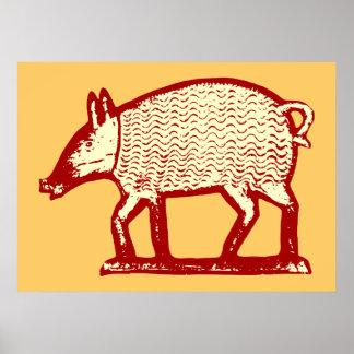 Big Red Pig: Folk Art for Country Kitchen, Bistro Poster