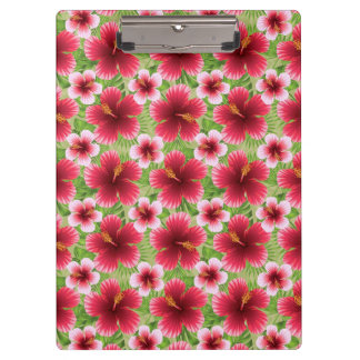 Big Red Pink Hibiscus Flowers Clipboards