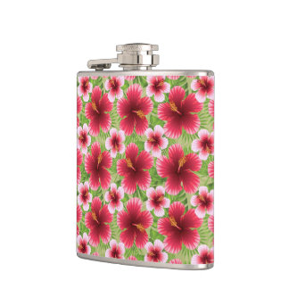 Big Red Pink Hibiscus Flowers Flasks