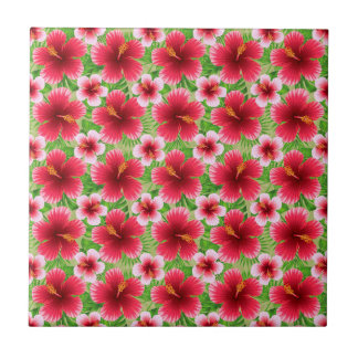 Big Red Pink Hibiscus Flowers Tiles