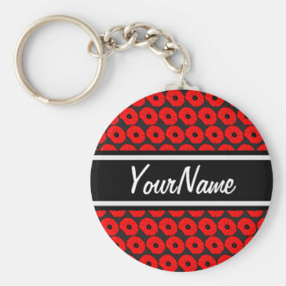 Big Red Poppies Pattern with Personalized Name Keychain