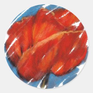 BIG RED POPPY CLASSIC ROUND STICKER
