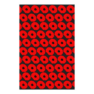 Big Red Poppy Flowers Pattern Stationery Design