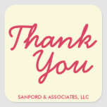 Big red Thank You in cursive business etiquette Square Stickers