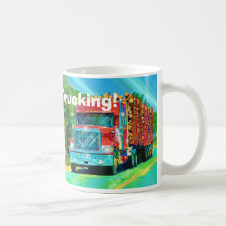 Big Rig Red Cargo Truck for Kids and Truckers Basic White Mug