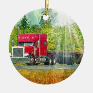 Big Rig Red Truck Heavy Transport Vehicle Ceramic Ornament