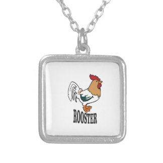 big rooster bird silver plated necklace