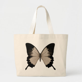 Big Sepia Orange & Black Butterfly Jumbo Tote Bag