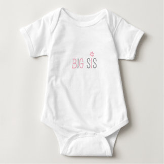 Big sis, big sister, pink gray modern baby bodysuit