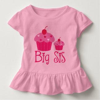 Big Sis Girls Cupcake Cute Ruffle T-shirt