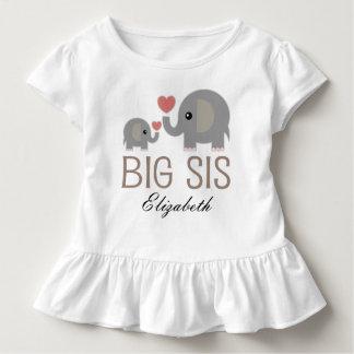 Big Sis Girls Cute Elephant Personalized T-shirt