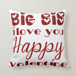 Big Sis I Love You Cute Cupid Typography Valentine Throw Pillow