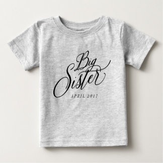 Big Sister Custom Due Date Announcement Tee Shirts