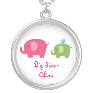Big Sister Cute Elephants Necklace