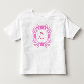 Big Sister Cute Girly Pink Fleur de Lis Cute Girly Toddler T-shirt