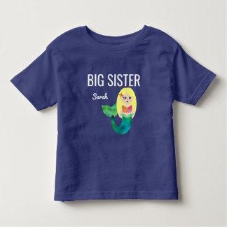 Big Sister Faux Foil Blonde Mermaid Girls Kids Toddler T-shirt