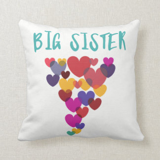 Big Sister Floating Hearts Throw Pillow