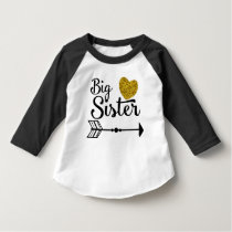 Big Sister Gold Heart Arrow Raglan T-Shirt