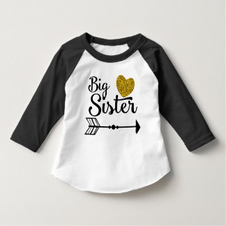 Big Sister Gold Heart Arrow Raglan T-Shirt
