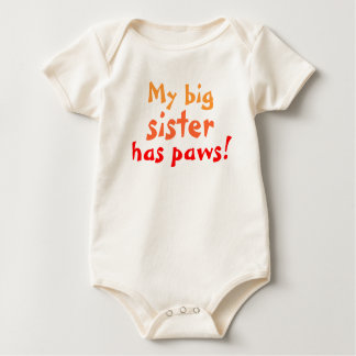 Big sister has paws baby bodysuit