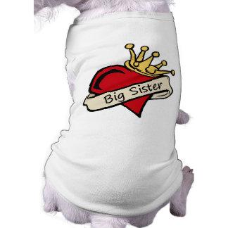 Big Sister Heart Tattoo Dog Tee Shirt