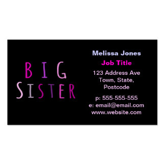 Big Sister in Pink Business Card Templates