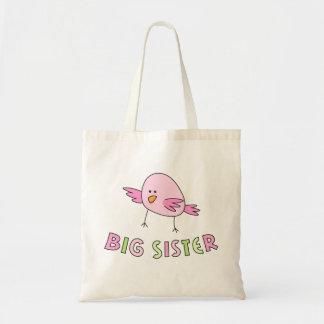 Big sister kids tote bag, funny cute cartoon bird