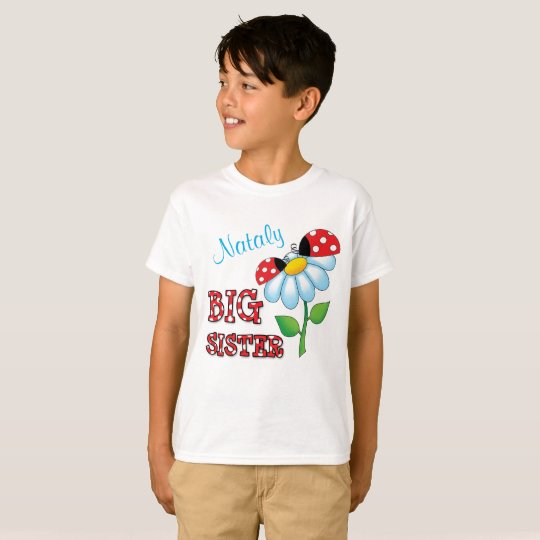Big Sister Ladybug Daisy Flower Personalized T-Shirt