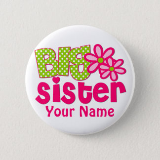 Big Sister Lime Green Pink Personalized Button