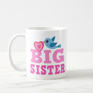 Big sister mug with cute cartoon bird and heart