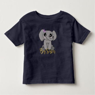 Big sister, new baby elephant faux gold lettering toddler t-shirt