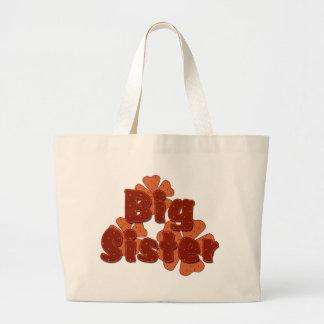 Big Sister Retro Flowers Orange Tote Bag