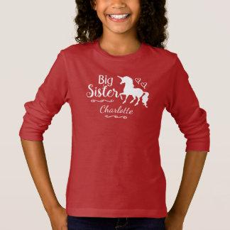 Big Sister Sibling Kids Unicorn Silhouette Girls T-Shirt