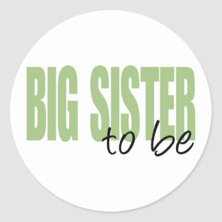 Big Sister To Be (Green Block Font) Stickers