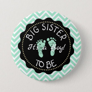 Big Sister to be  Green Chevron Baby Shower button