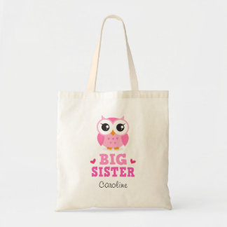 Big sister tote bag with cute pink owl