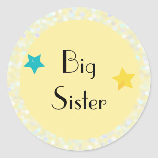 Big Sister with Stars Classic Round Sticker
