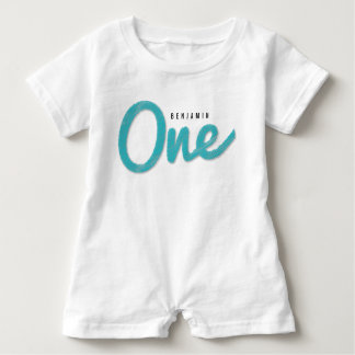 Big Sketch One Blue Baby Boy First Birthday Party Baby Romper
