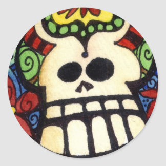 Big Skullie and His Friends Day of the Sugar Skull Classic Round Sticker