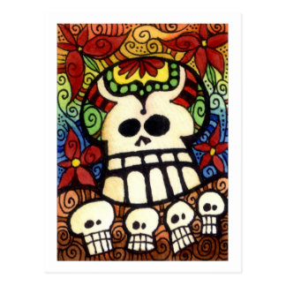 Big Skullie and His Friends Day of the Sugar Skull Postcard