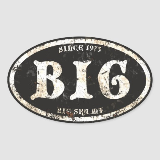 Big Sky  Black Grunge Rust Oval Sticker