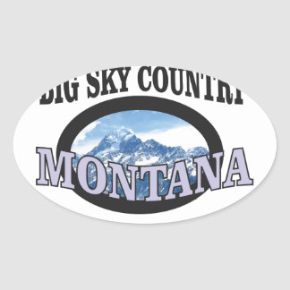 big sky country Montana Oval Sticker